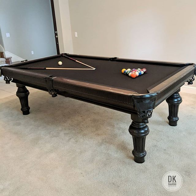 Finished Installing This 8 Foot Custom Hillary Pool Table In Yorba Linda Black Felt Billiards Dkbilliards Pla Black Pool Table Pool Table Room Black Felt