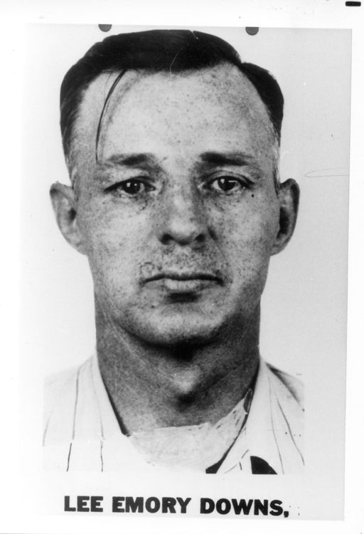 Lee Emory Downs - U.S. prisoner was returned to prison for burglary attempt of Colombian consulate in San Francisco, after his parole in 1968; was arrested April 7, 1950 with weapons, dynamite and fuses at a Daytona Beach, Florida trailer park; was charged August 3, 1948 with unlawful flight; had robbed a telephone company office in San Jose, California, June 3, 1948; an expert safecracker and skilled holdup man in three Pacific Coast states: Company Offices, Beaches, Pacific Coast, Trailers Parks, 512 750 Pixel, Telephone Company, Coast States, Florida Trailers, Florida Prisons