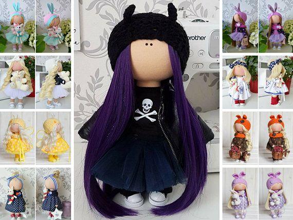 Handmade doll Demon doll Muñecas Black doll Bonita Nursery doll Textile doll Poupée Fabric doll Tilda doll Cloth doll Bambole by Tanya E