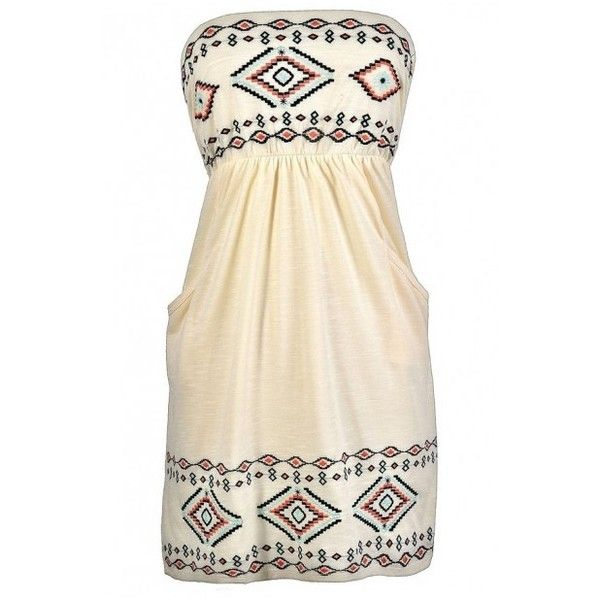 Southwestern Summer Strapless Embroidered Pocket Dress ($33) ❤ liked on Polyvore featuring dresses, strapless dresses, day summer dresses, embellished dress, embroidery dress and strapless summer dresses