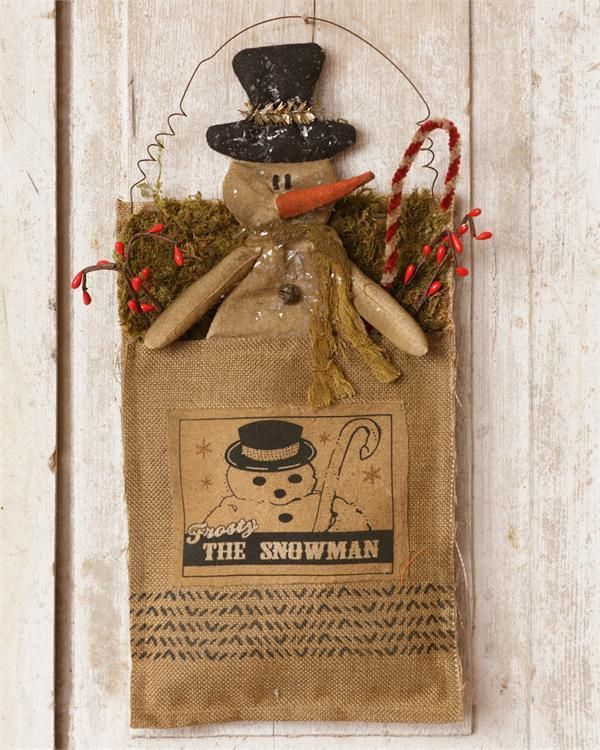 Primitive Country Grubby Stained Hanging Fabric Pouch ~ Snowman ~ Free Shipping! #NaivePrimitive