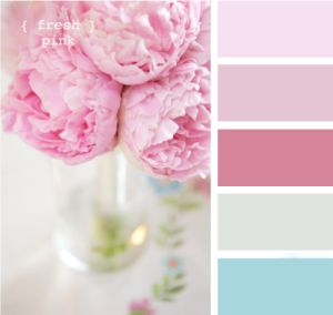 Vintage Rosa - Shabby Chic Color Palette I'd trade the dark pink out for a butter creme yellow.