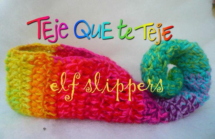 CROCHET - RAINBOW / ARC-EN-CIEL / REGENBOOG - SLIPPER - elf slippers handmade maruguerra2013
