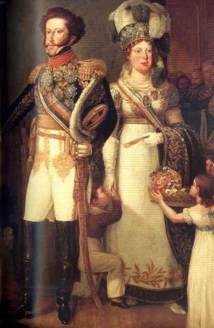 Pedro I of Portugal and his bride, Maria Leopoldiva. In 1822, Pedro I declared himself emperor of Brazil.