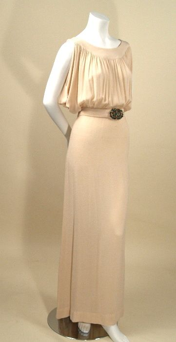 1930's Cream silk bias cut evening gown with self belt and green jeweled buckle
