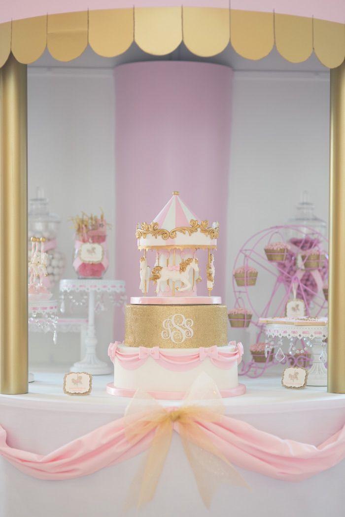 Carousel Sweet Table from a Pink Carousel Birthday Party via Kara's Party Ideas! KarasPartyIdeas.com (14)