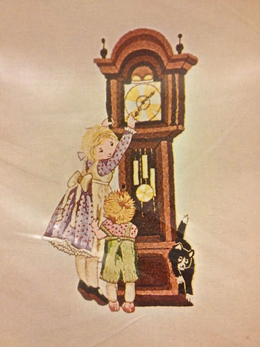 Bucilla Crewel Embroidery Holly Hobbie Grandfather's Clock Kit #2171 Vintage NIP - $34.99