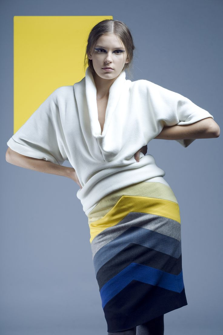 Pencil skirt and white kimono slives blouse .  Geometrics collection created in 2008