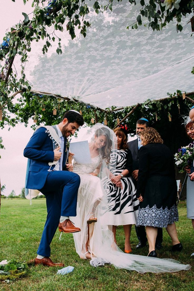 Smashing the Glass! | A Maggie Sottero bride for a Jewish wedding with a living tree Chuppah in the UK | Smashing the Glass Jewish wedding blog