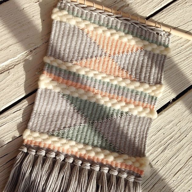 Handmade Wall Weaving by Hunter NY : Grey, Natural, Peach, Green - www.hunter-ny.com #hunterobjects