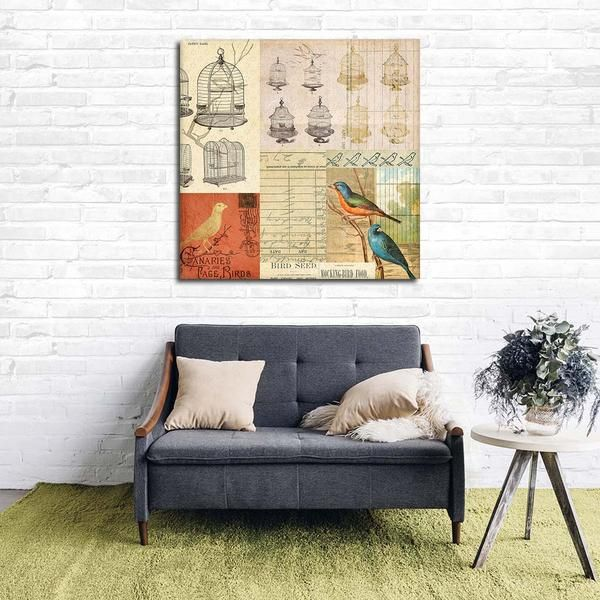 Vintage Canaries Canvas Wall Art Shabby Chic Wall Art Canvas Wall Art Wall Art