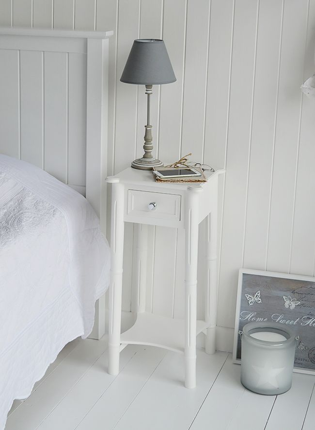 grey and white bedroom furniture. a narrow tall white bedside table with drawer and silver handle new england bedroom furniture grey