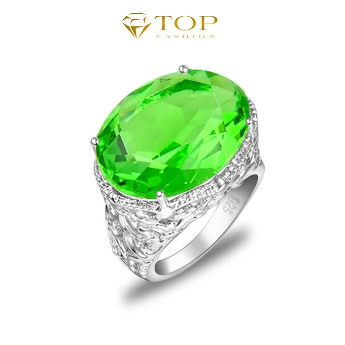 Free Shipping Mother Day Gift Hot Sell Crystal Rings Unique Cut Gorgeous Green Quartz Rings R0120