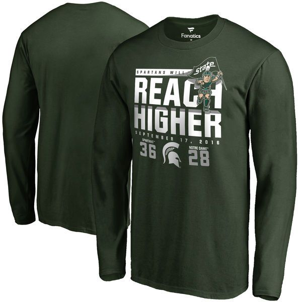 Michigan State Spartans vs. Notre Dame Fighting Irish 2016 Score Long Sleeve T-Shirt - Green - $27.99
