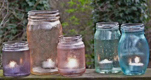 candle: Recycle Jars, Food Colors, Jars Candles, Candles Holders, Candles Jars, Tinted Mason Jars, Glasses Jars, Painting Jars, Colors Glasses