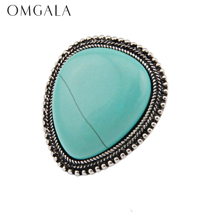 2017 Newest Design Women Fashion Vintage Antique Silver Plated Turquoise Adjustable Statement Ring Jewelry Drop Shipping Store