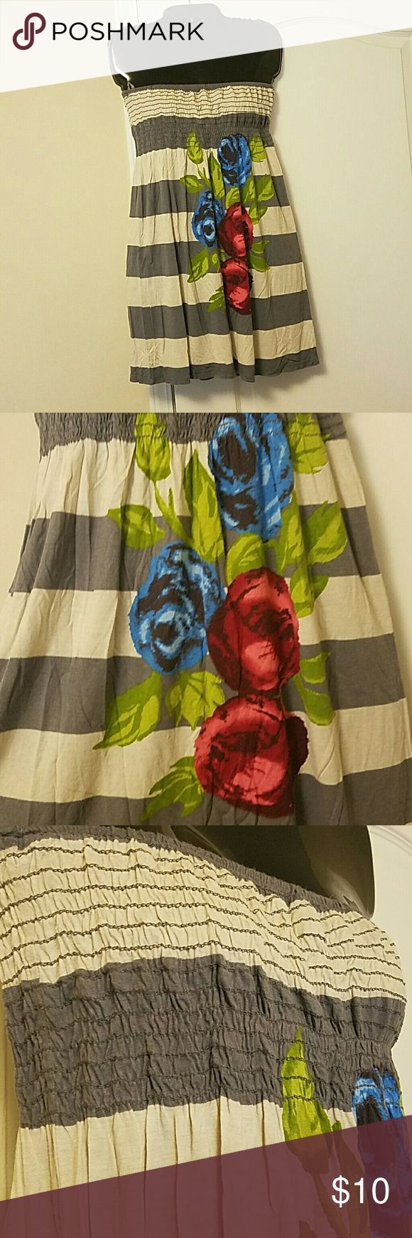 Tube top dress One clothing tube top dress size medium. I personally wore it as a tunic or as a swim suit cover up but if your not as tall as me (5'10) it can easily be worn as a dress lol. Worn but still good condition no holes or stains. Has the same print on the front and back one clothing Dresses