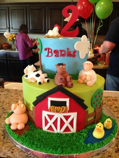 Adorable farm cake birthday cake for a special little boy. Love the barn and animals. My sister is so talented.