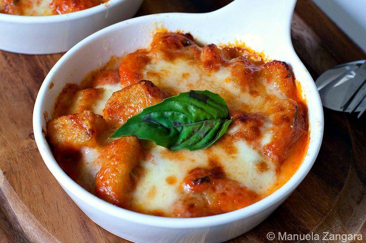 Gnocchi alla sorrentina - baked potato gnocchi with tomato sauce and stretchy mozzarella.