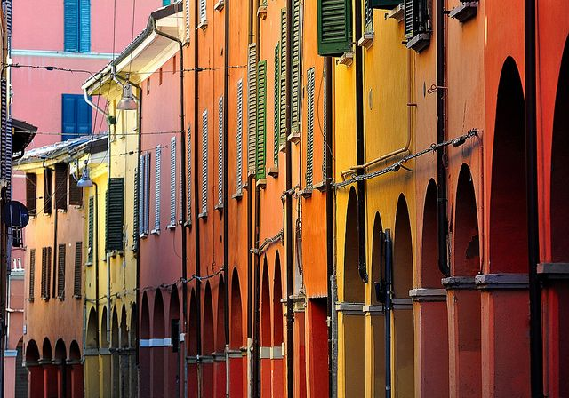particulare houses in Bologna, you can see the colours and you can breath the atmosphere..