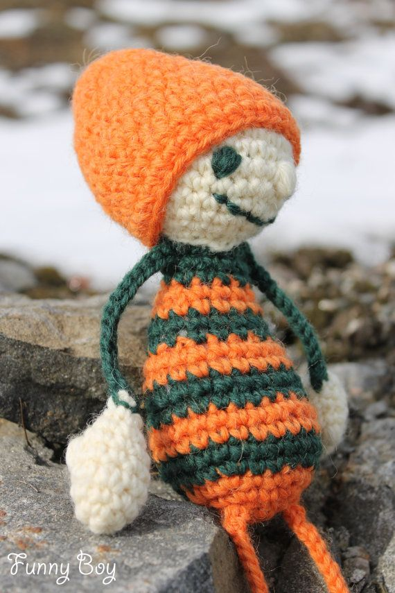 Amigurumi funny Boy  Crochet doll  Stuffed Boy  by MyWarmFriends, €15.00
