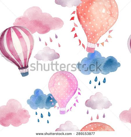 Watercolor seamless pattern with air balloon and clouds.  Hand drawn vintage collage illustration with hot air balloon, flag garlands, abstract pastel clouds and rain drops.  Vector kids texture - vector stock