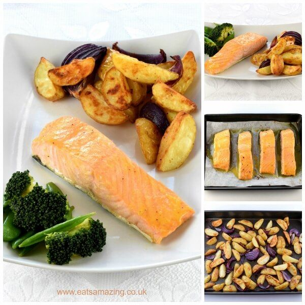 Really quick and easy oven baked honey mustard salmon fillets recipe with homemade potato wedges - great kid friendly mid-week family meal idea from Eats Amazing UK
