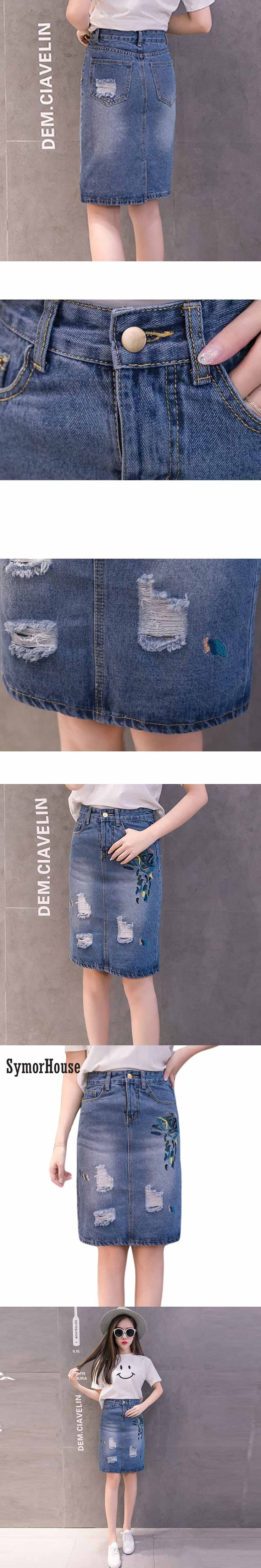 Plus Size Ladies Summer Skirt High Waist Vintage Floral Embroidery Sexy Midi Denim Skirt Fashion Casual back split Jeans skirts