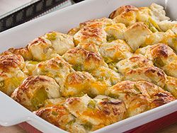Our Pull-Apart Cheese Bread is great for a movie night at home with some friends and family. That's 'cause this pull-apart bread is made with delicious and irresistible ingredients, like two kinds of melted cheese and yummy buttermilk biscuits. Just don't blame us if this recipe steals the show!