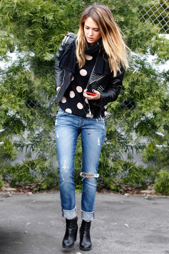 Snapped in the City of Angels, the American actress was grunge-chic in a studded biker blazer and distressed denim with a polka-dot sweater and cowboy ankle boots.