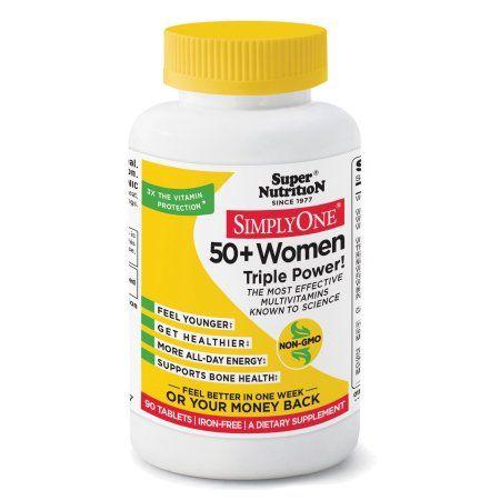 SuperNutrition SimplyOne 50 Plus Women Triple Power Iron-Free Multivitamin Tablets, 90 Ct