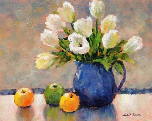 """Daily Paintworks - """"Three Apples and Some Tulips"""" - Original Fine Art for Sale - © Nancy F. Morgan"""