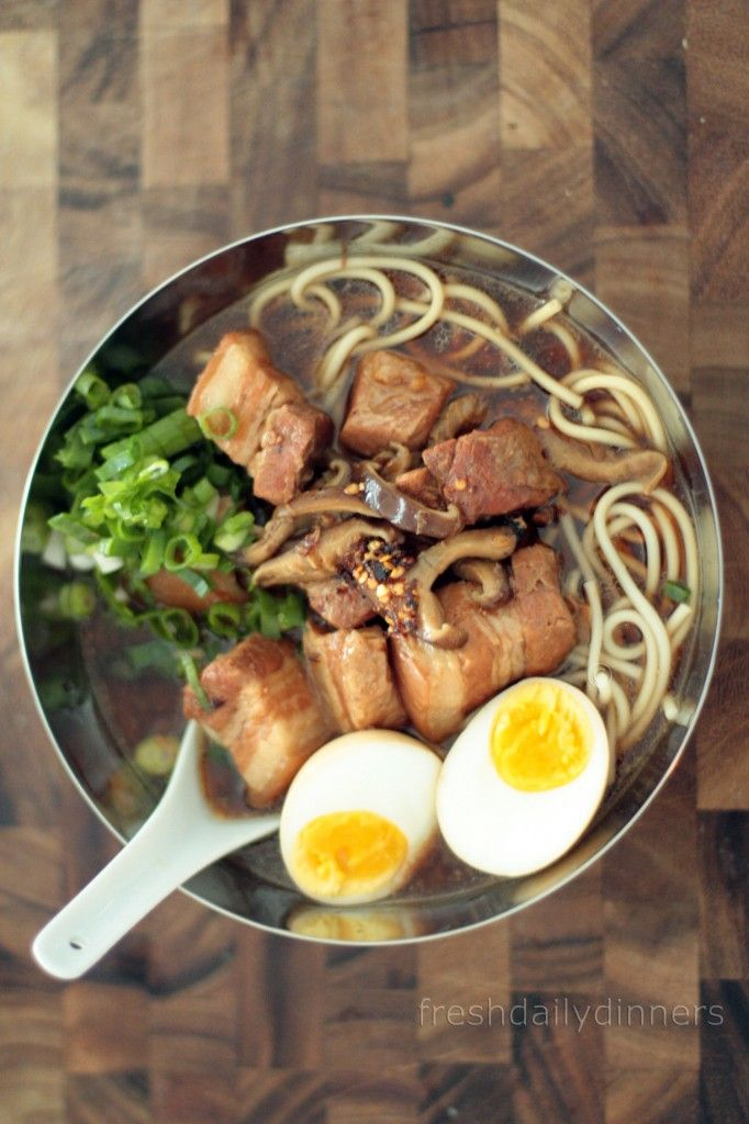 """Pork Belly Ramen HOLY GOOD FOOD, BATMAN!!!  If anyone one has ever been to Momofuku & had their version of this dish I will tell you that this is NOT as good as that. BUT to replicate that takes TWO days (or more). I started this recipe ~3p, hubs & I ate ~8p. This is a delicious substitute for an """"authentic"""" ramen craving."""