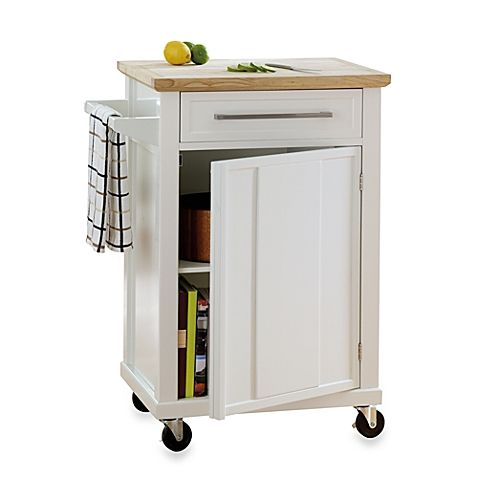 Efficiently-sized and filled with all the right features to help you make fabulous meals, this compact rolling kitchen cart is crafted with a rubberwood top with a gravy groove that makes an excellent cutting and food prep surface.