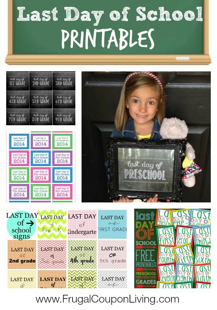 FREE Last Day of School Printables for kids. All grades pre-school to Senior Year. Details and more FREEBIES on Frugal Coupon Living.