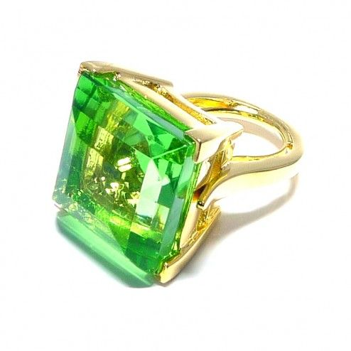 Kenneth Jay Lane Peridot Crystal Cocktail Ring at aquaruby