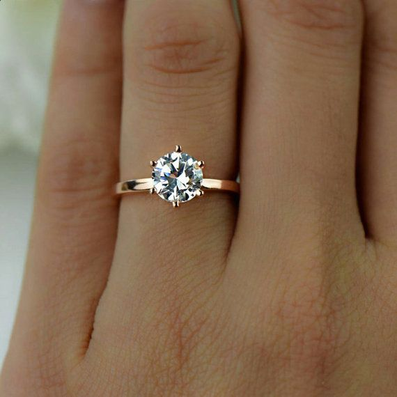 1.5 ct 6 Prong Solitaire Engagement Ring, Round Man Made Diamond Simulant, Promise Ring, Sterling Silver, Rose Gold Plated, 40% Final – Emma❄️