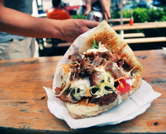 In Berlin, I fell in love with the Turkish döner kebab at a little takeout place near my hotel. Similar to a gyro, these overflowing sandwiches were topped with all sorts of salads, fresh vegetables and sauces and served on a warm, crispy flatbread. I've never found anything quite like it in the U.S., but I've got some ideas for a homemade version that incorporates some of my favorite elements
