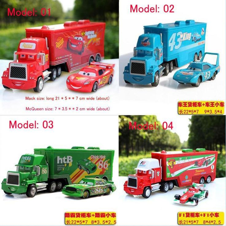 2pcs/set DISNEY Cars Lightning McQueen Metal Container with king mack Hauler Truck Diecast Toys Vehicles for Kids Children