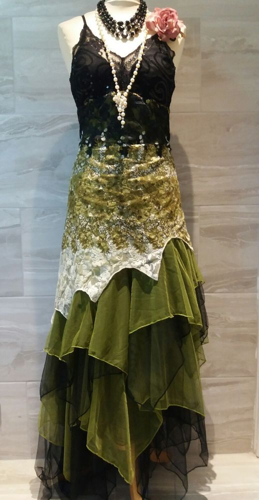 Vintage 1920s Flapper Charleston Gatsby Dress Lace Green Evening Dress UK 18  #EverPretty #Flapper #Party