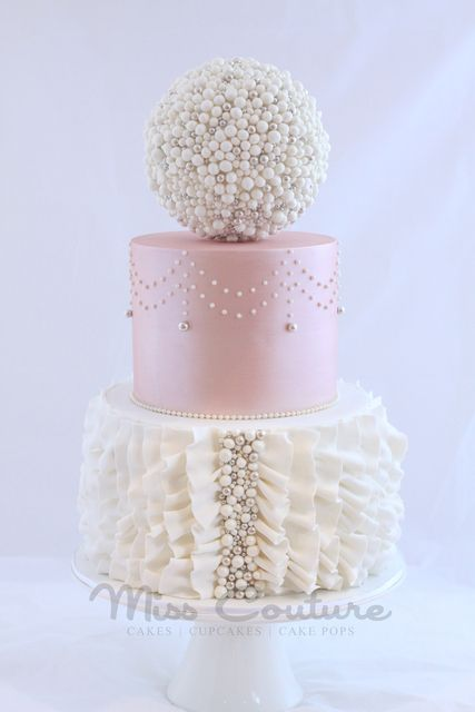 Pink and White Lace and Pearls