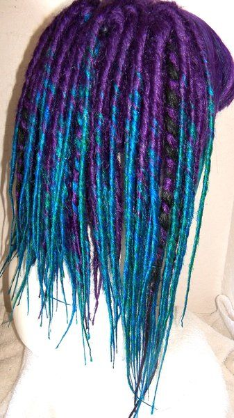custom dread wig ombre purple and teal from damnationhair.com #damnationhair