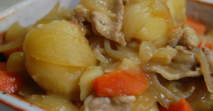 お水を使わないから野菜の旨みギュ~ッ!だしも使わず美味しい肉じゃが。ノンオイル!母の味❤材料を並べて火にかけるだけ。簡単