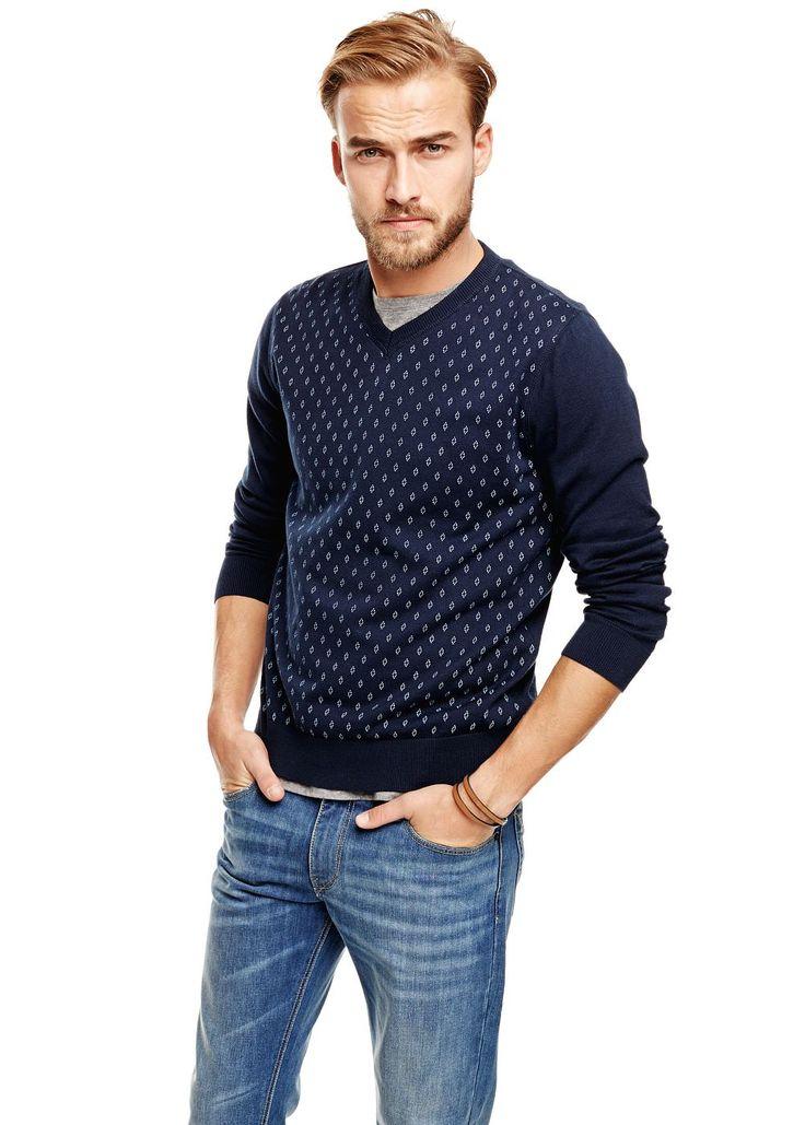 Rhombus cotton sweater - Men - H.E. BY MANGO