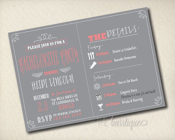 Bachelorette Itinerary Weekend Party Invitations // Schedule (Bachelorette Schedule/Bachelorette Weekend Invitations) -- Digital Printable