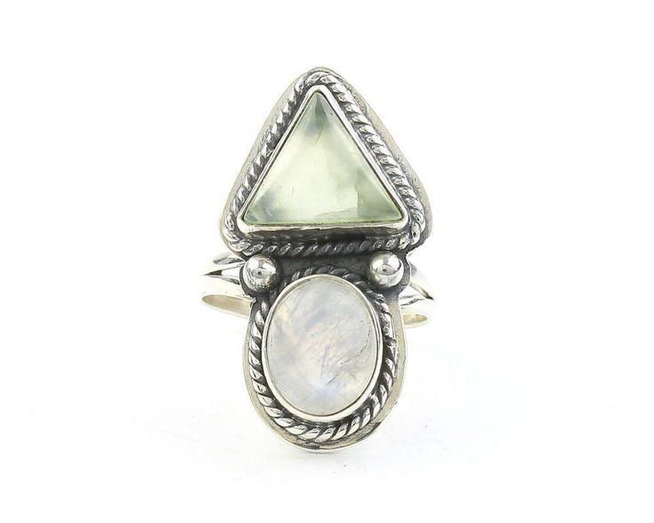 Shewa Ring, Sterling Silver Moonstone And Prehnite Ring, Statement Piece, Festival Jewelry, Boho, Gypsy, Hippie, Spiritual #SterlingSilverBoho