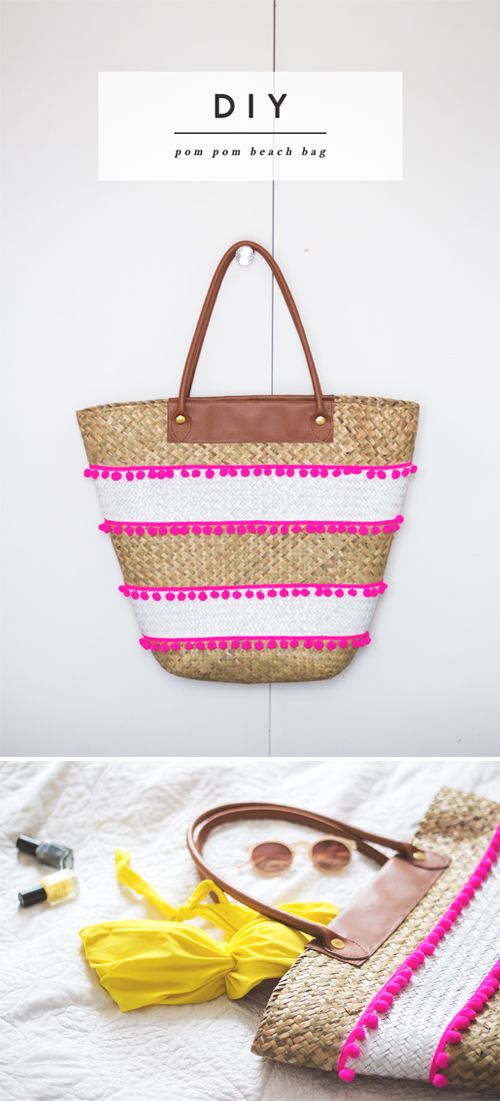 DIY: pom pom DIY straw bag