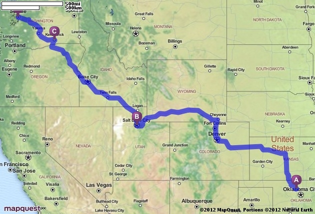 Driving Directions from Enid, Oklahoma to Seattle ...