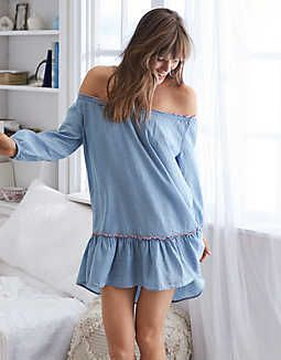 Aerie Chambray Peasant Dress, Monaco Blue   Aerie for American Eagle