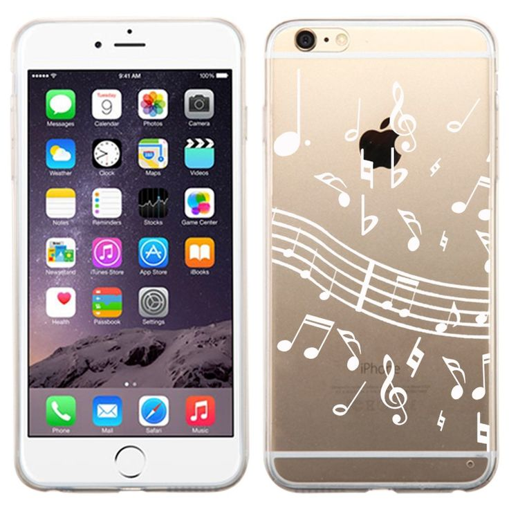 One Tough Shield ® SLIM-FIT Transparent Flexible TPU Phone Case for Apple iPhone 6 PLUS / 6s PLUS - (White Music Notes). Compatible with: Apple iPhone 6 PLUS / 6s PLUS (5.5 inch Screen Size). Made of highly durable TPU (Thermoplastic Polyurethane) plastic material. Prevent dust and scratches. Flexible texture Surface. Grip-Friendly. No tool is required for installation. Full ports access for camera lens/buttons/charging. Phone is Not Included.